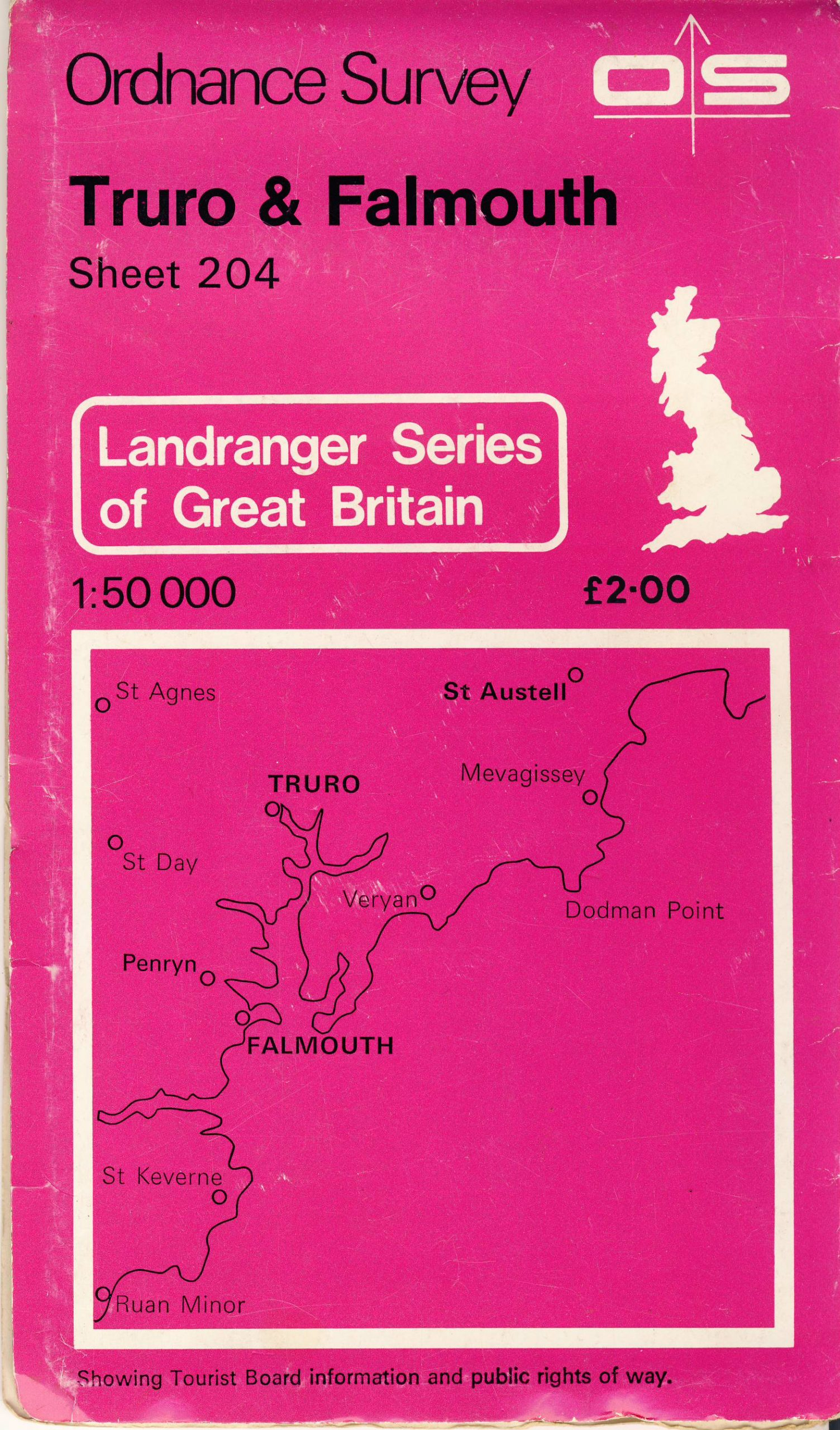 TRUTO AND FALMOUTH 204 1979 Landranger Series Great Britain OS vintage map refS5 Ordnance Survey publication - measures approx  22cm x  13cm folded - map on one side - other side is blank - pre-owned in very good condition.