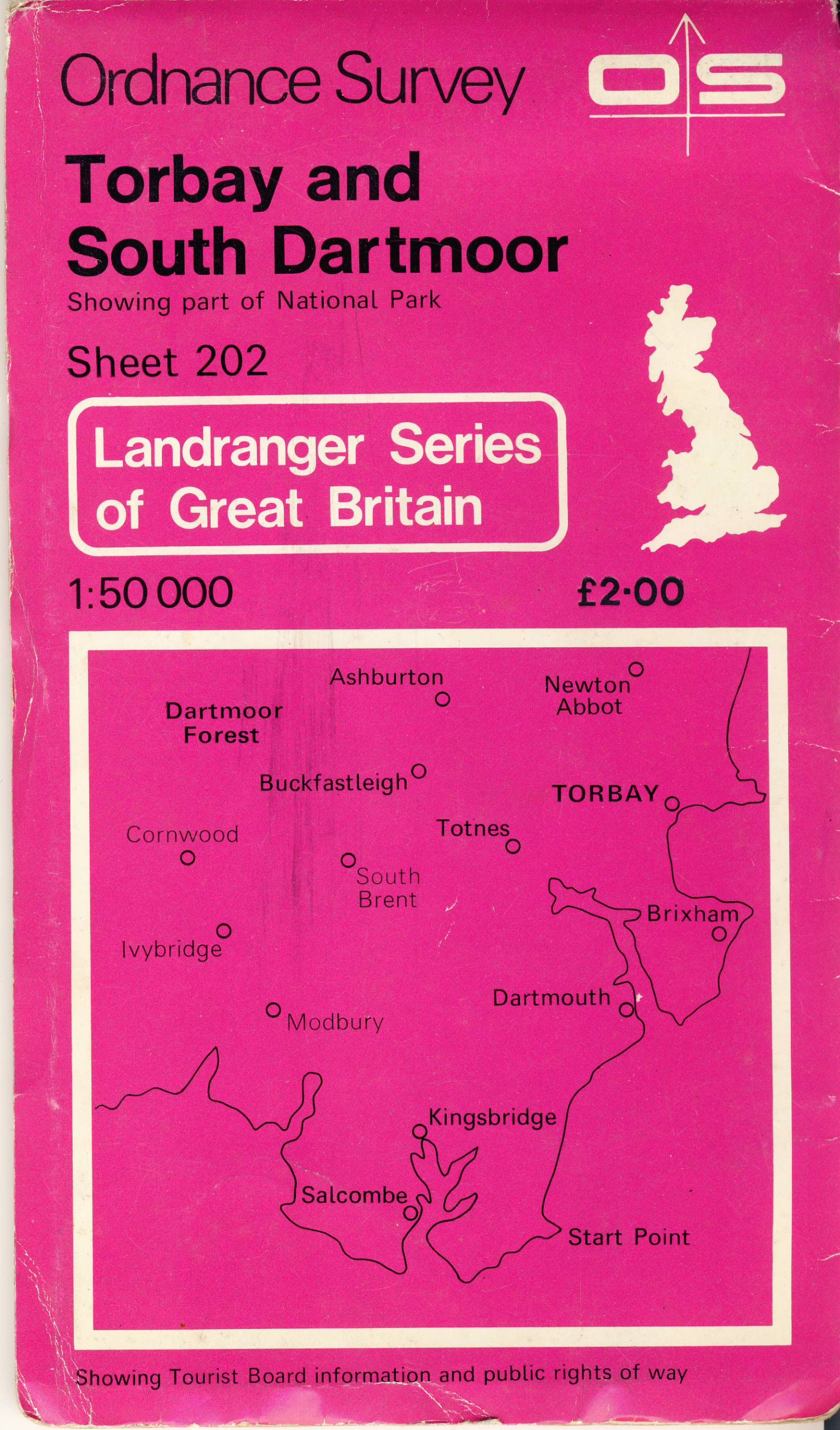 TORBAY AND SOUTH DARMOOR 202 1981 Landranger Series Great Britain OS vintage map refS5 Ordnance Survey publication - measures approx  22cm x  13cm folded - map on one side - other side is blank - pre-owned in good used condition.