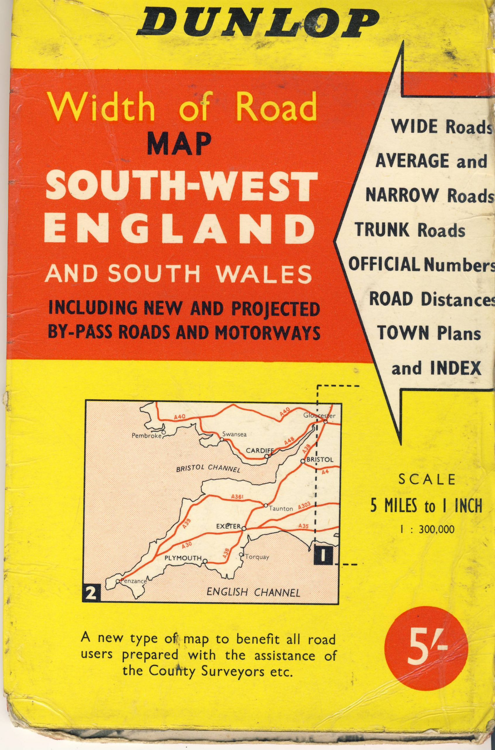 1963 Southwest England and SOUTH WALES DUNLOP Width of Road vintage map refS5 Geographia publication Fleet Street London revised edition 1963 measures approx  23cm x  15cm folded - map on one side - other side is key to town locations - pre-owned in good condition for age and use.