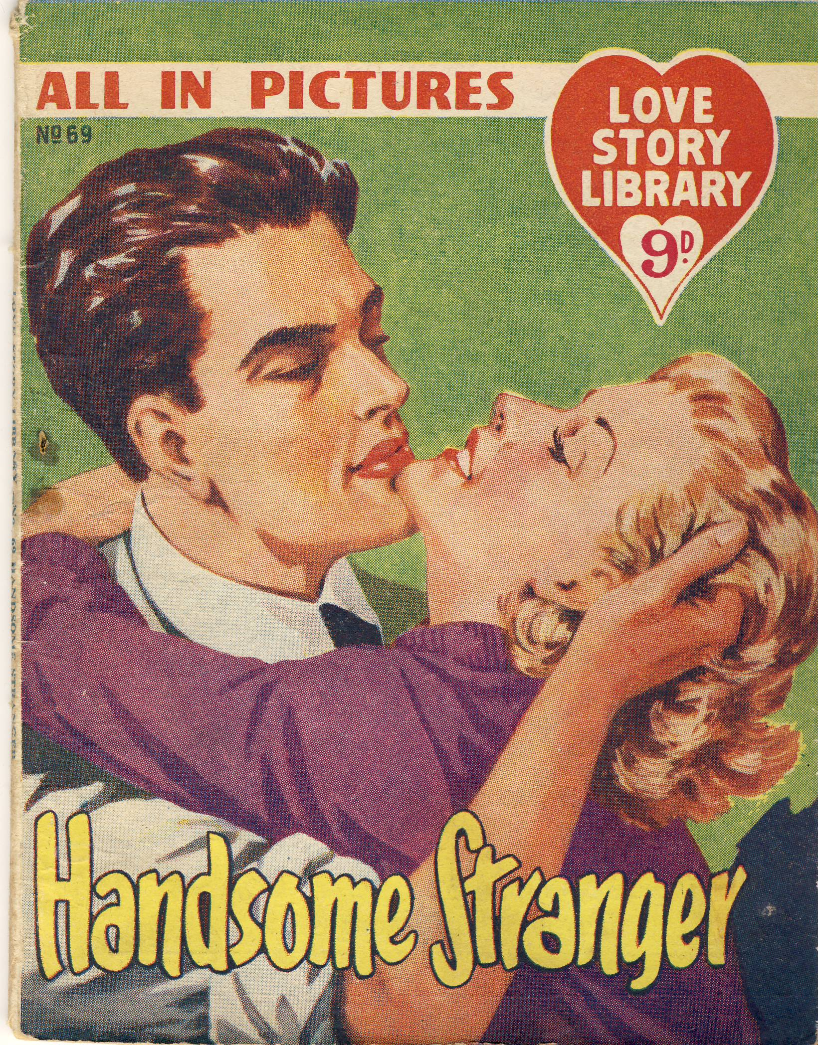 Handsome Stranger No.69 All in Pictures LOVE STORY  LIBRARY vintage magazine refS5  a pre-owned vintage item in well read condition.Anadin advert inside back cover. Bravingtons jewellers Kings Cross Advert on back cover.