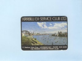 KIRRIBILLI EX-SERVICE CLUB vintage souvenir beer coaster SYDNEY Aus refS5  a pre-owned vintage item in good condition. Measures approx 11cm x 8cm - cardboard coaster from Harbour View Crescent