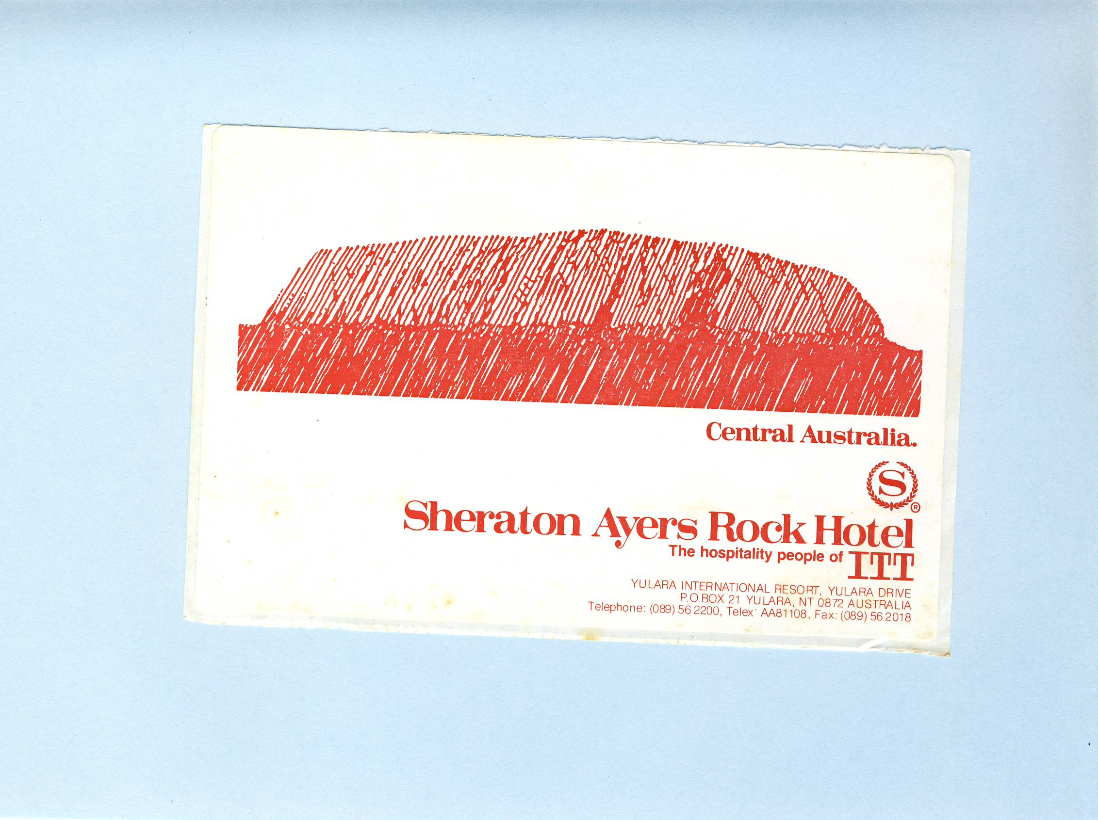 Sheraton Ayers Rock Hotel Central Australia vintage souvenir sticker refS5  a pre-owned vintage item in good condition. Unused. Measures approx. 8cm x 13cm