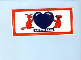 AUSTRALIA vintage souvenir sticker Kangaroo Heart Koala Bear - unused refS5  a pre-owned vintage item in good condition. Measure approx. 7cm x 13cm - unused.
