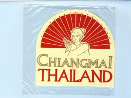 CHIANGMAI THAILAND vintage souvenir Sticker - unused refS5  a pre-owned vintage item in good condition. Measures approx 11cm x 11cm at widest points. Unused.