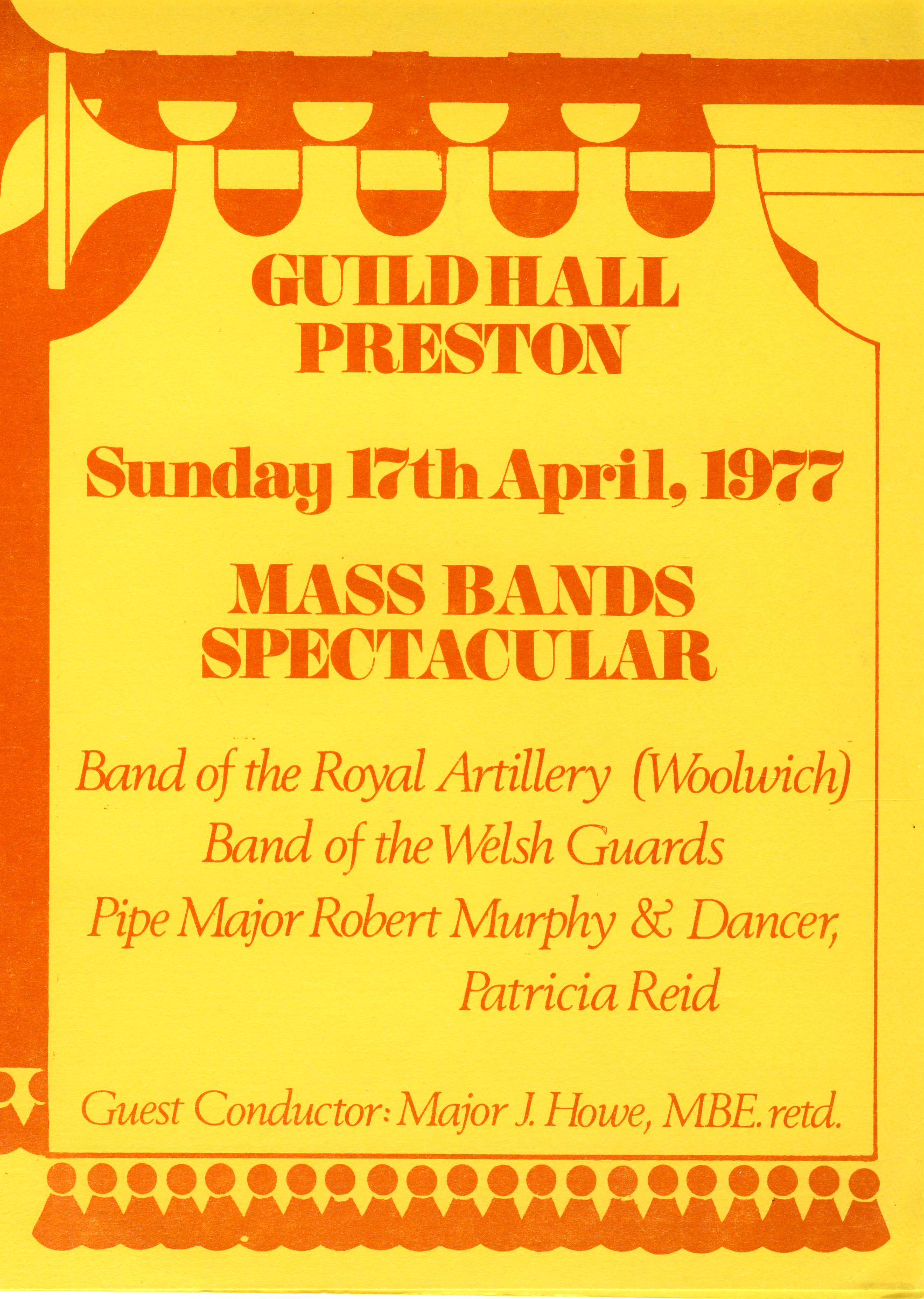 1977 Guildhall Preston Mass Bands Spectacular folded brochure refS5 Folded card dated Sunday 17th April 1977 - a pre-owned vintage item in good condition.