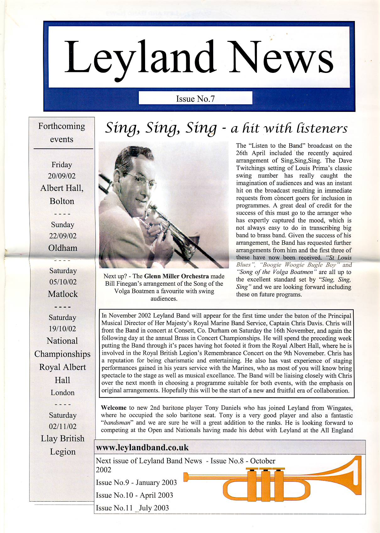 2002 LEYLAND NEWS issue no.7 Glenn Miller Orchestra Leyland Band refS5 4 pages approx 29cm x 21cm - a pre-owned item in very good condition.