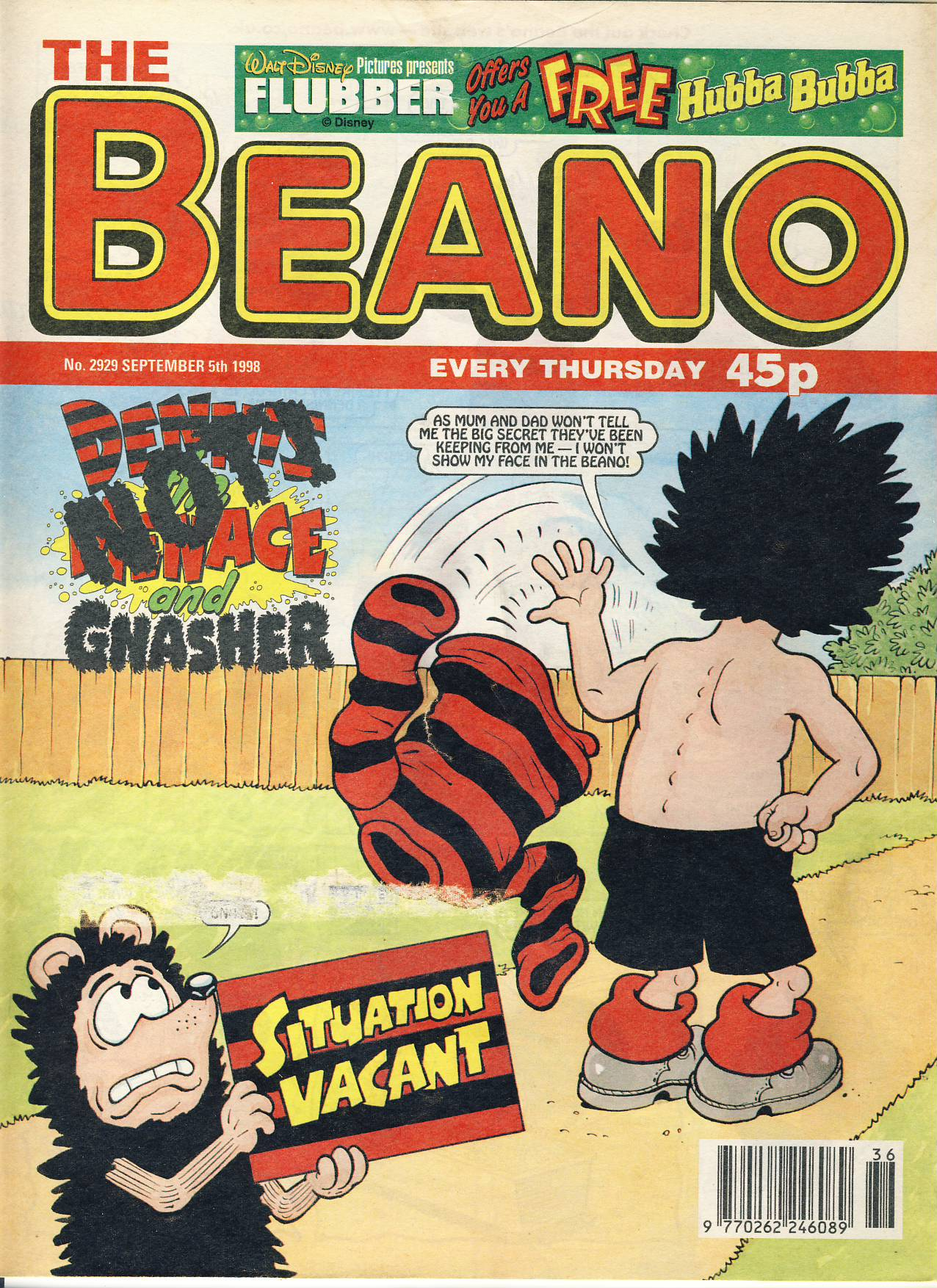1998 September 5th BEANO vintage comic Good Gift Christmas Present Birthday Anniversary ref227 a pre-owned item in very good read condition.