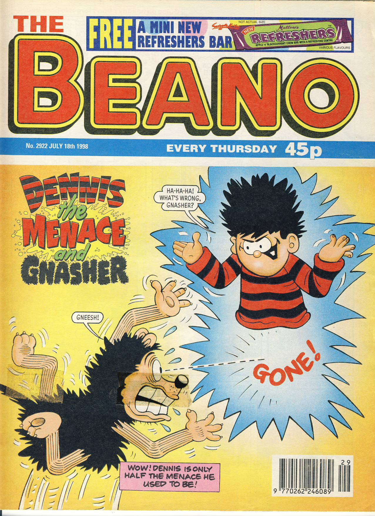 1998 July 18th BEANO vintage comic Good Gift Christmas Present Birthday Anniversary ref228 a pre-owned item in very good read condition.