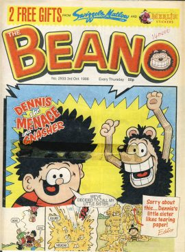 1998 October 3rd BEANO vintage comic Good Gift Christmas Present Birthday Anniversary ref243 a pre-owned item in very good read condition.