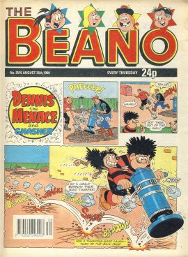 1990 August 25th BEANO vintage comic Good Gift Christmas Present Birthday Anniversary ref269 a pre-owned item in very good read condition.