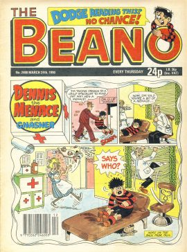 1990 March 24th BEANO vintage comic Good Gift Christmas Present Birthday Anniversary ref299a pre-owned item in good read condition.