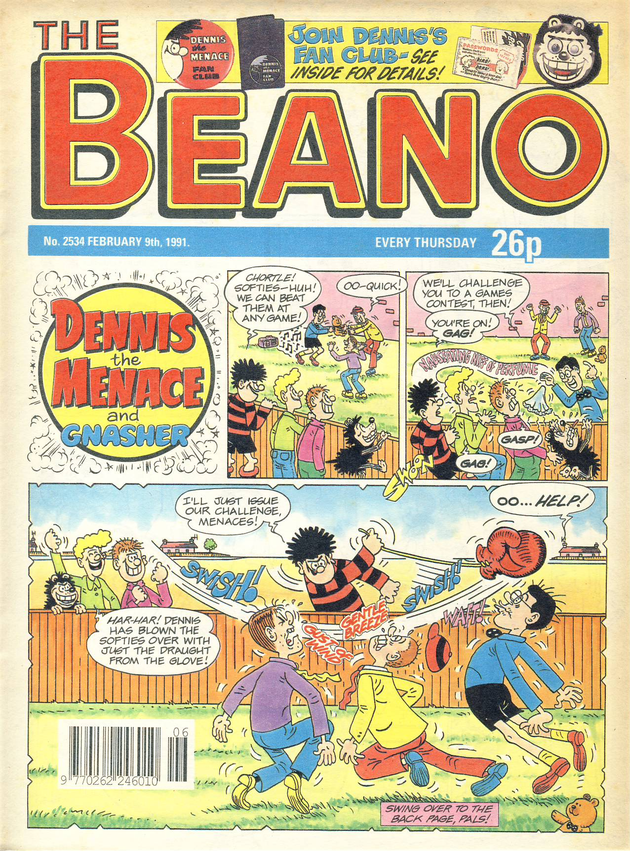 1991 February 9th BEANO vintage comic Good Gift Christmas Present Birthday Anniversary ref305a pre-owned item in good read condition.