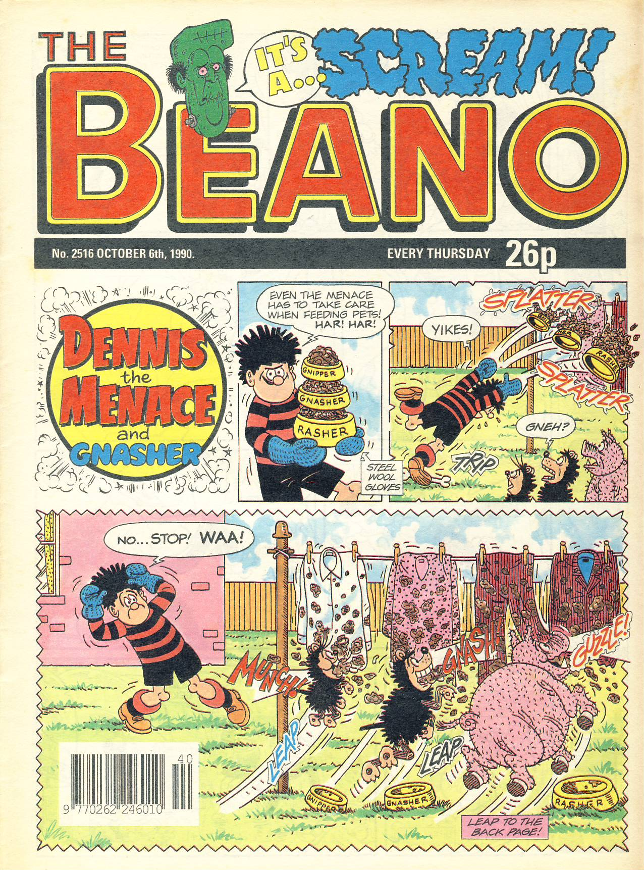 1990 October 6th BEANO vintage comic Good Gift Christmas Present Birthday Anniversary ref308a pre-owned item in good read condition.