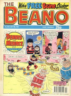 1991 July 6th BEANO vintage comic Good Gift Christmas Present Birthday Anniversary ref312a pre-owned item in good read condition.