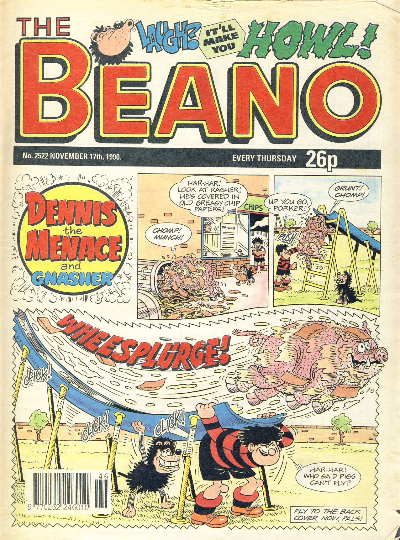 1990 November 17th BEANO vintage comic Good Gift Christmas Present Birthday Anniversary ref315a pre-owned item in well read condition.