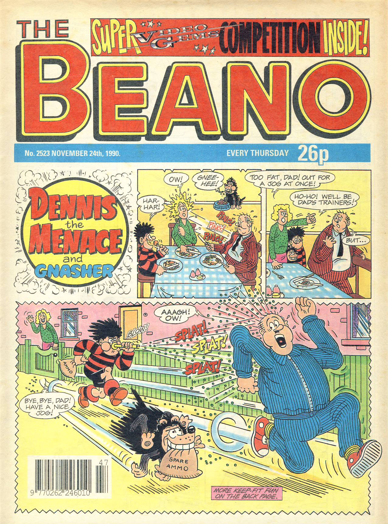 1990 November 24th BEANO vintage comic Good Gift Christmas Present Birthday Anniversary ref316a pre-owned item in good read condition.