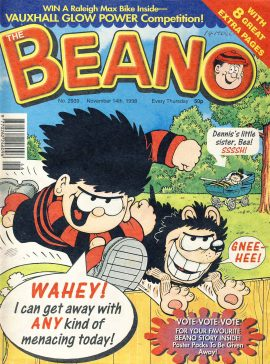 1998 November 14th BEANO vintage comic Good Gift Christmas Present Birthday Anniversary ref317a pre-owned item in good read condition.