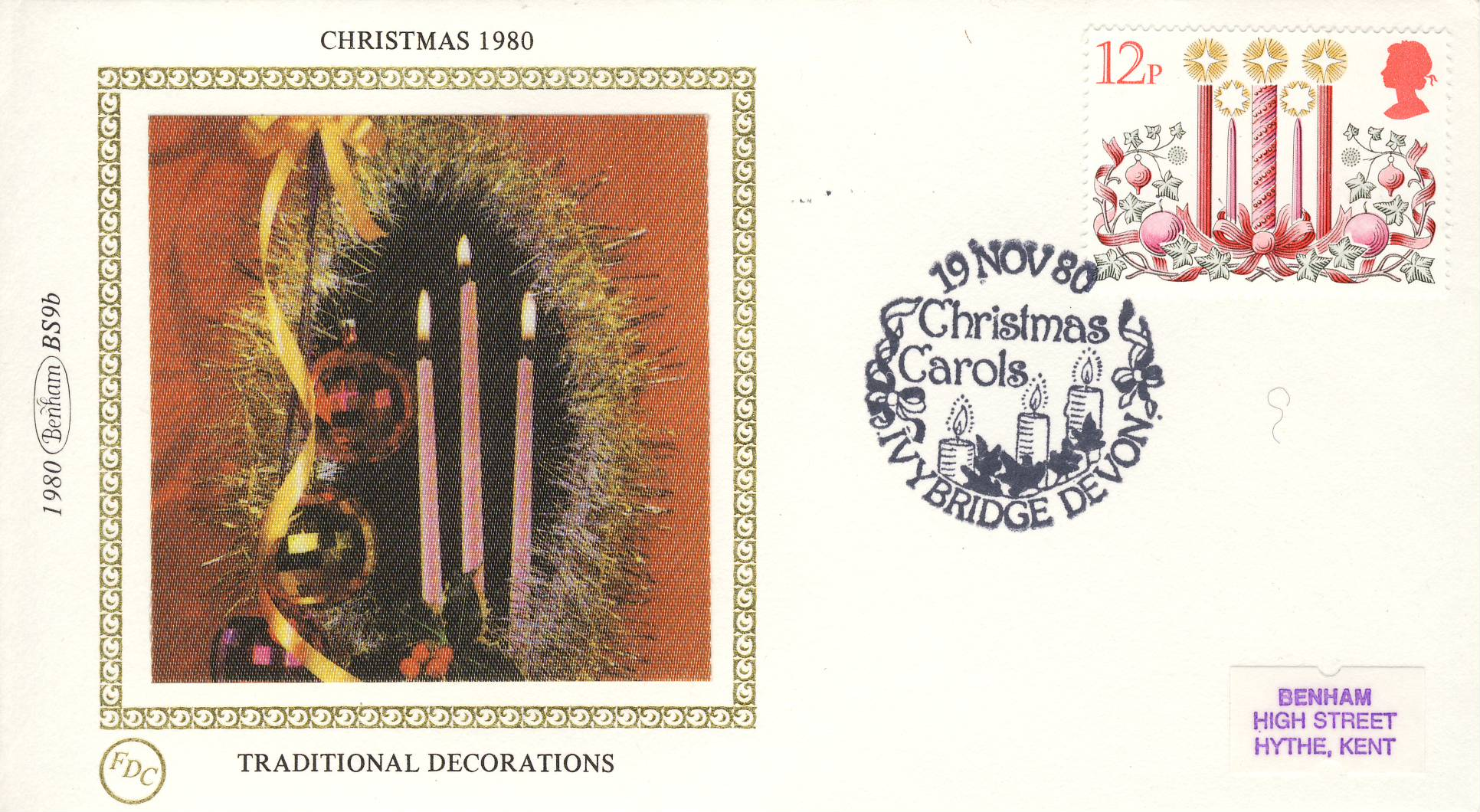 1980 CHRISTMAS BS9b Traditional Decorations Benham Sm Silk Cover refF477Postmarked Christmas Carols IvyBridge Devon. Very good condition. Unsealed with insert card. Ideal for gift