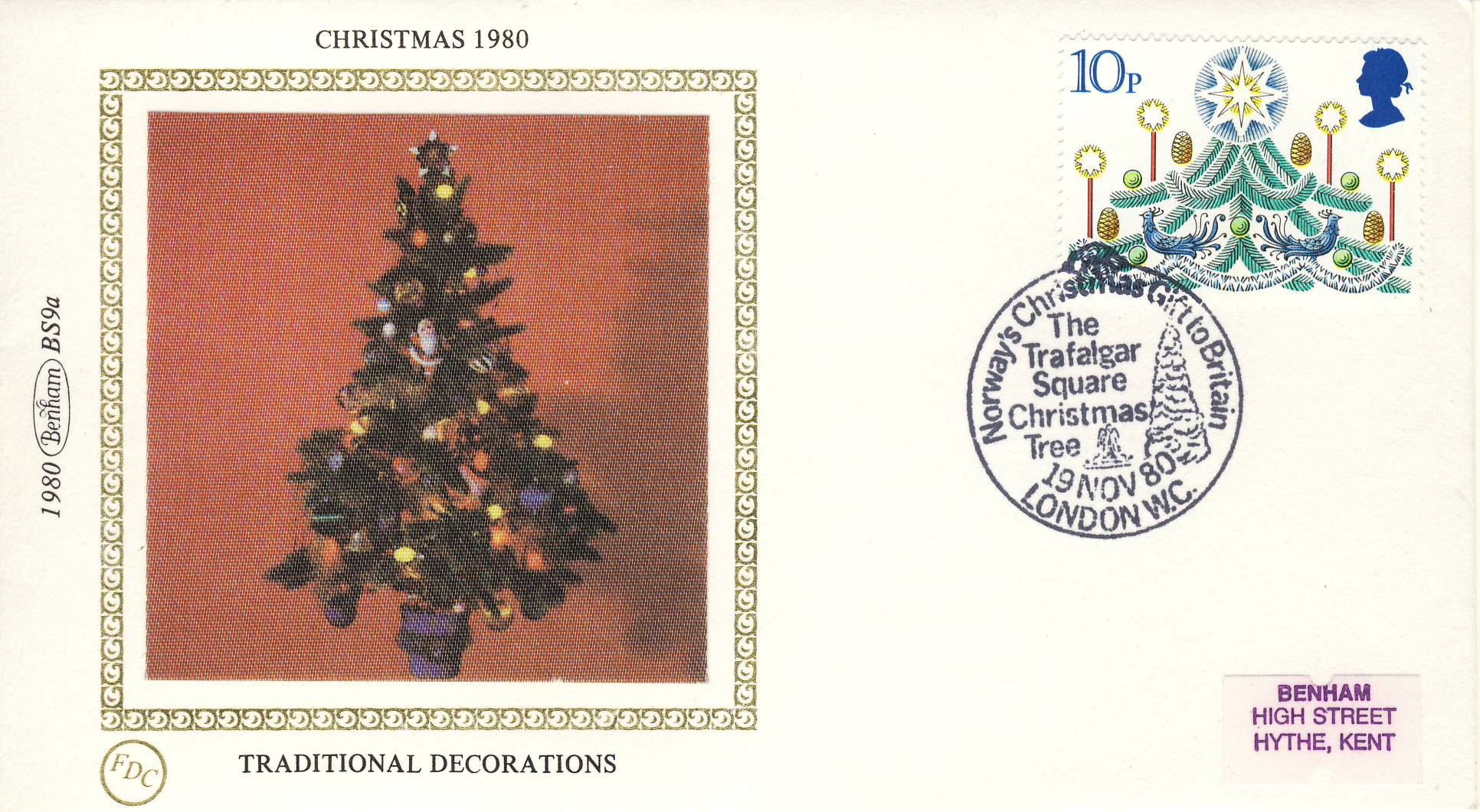 1980 CHRISTMAS BS9a Traditional Decorations FDC  Benham Sm Silk Cover refF478Postmarked Trafalgar Square Christmas Tree Norway's Gift to Britain. Very good condition. Unsealed with insert card. Ideal for gift