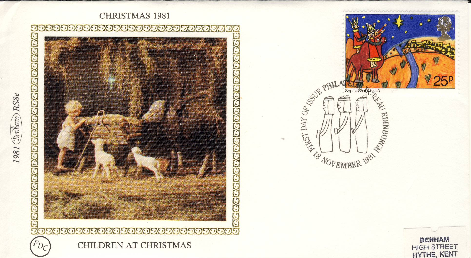 1981 CHRISTMAS BS8e CHILDREN FDC Benham Sm Silk Cover refF479Postmarked Three Kings. Good condition. Unsealed with insert card. Ideal for gift