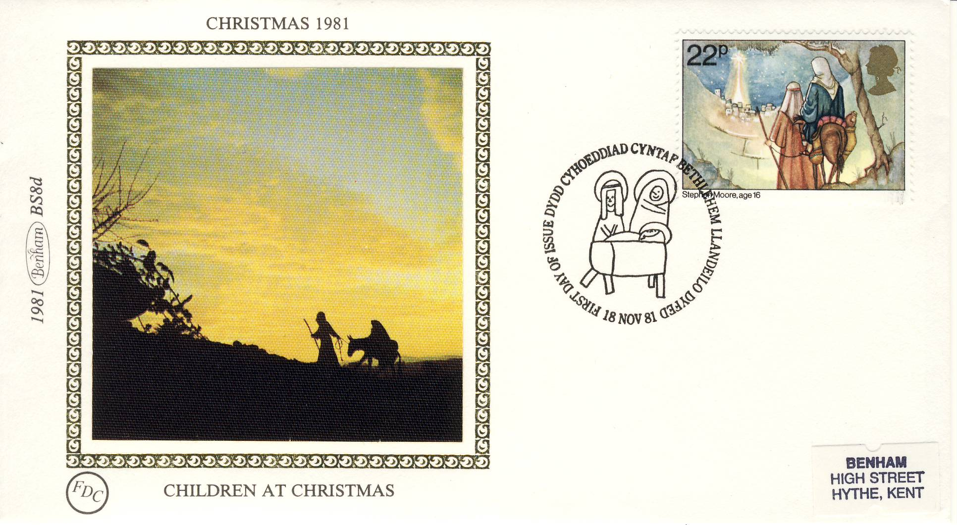 1981 BS8d CHILDREN AT CHRISTMAS FDC Benham Sm Silk Cover refF480Postmarked Bethlehem. Very good condition. Unsealed with insert card. Ideal for gift