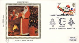 1981 Children at Christmas BS8a FDC Benham Sm Silk Cover refF483Postmarked A VERY HAPPY XMAS FROM NORWICH NORFOLK The Big C Appeal. Very good condition. Unsealed with insert card. Ideal for gift