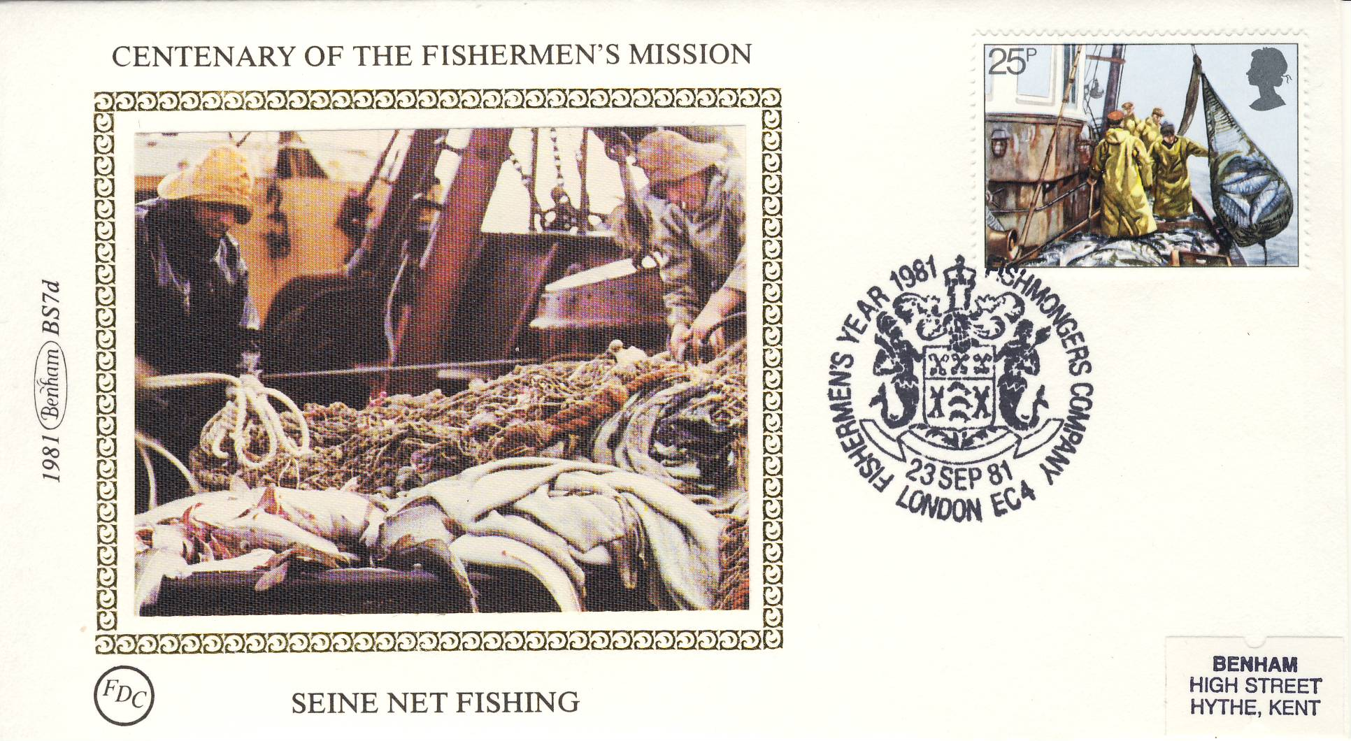 1981 BS7d Fishermen's Mission SEINE NET Benham Sm Silk Cover refF484Postmarked Fishmongers Company London EC4. Very good condition. Unsealed with insert card. Ideal for gift