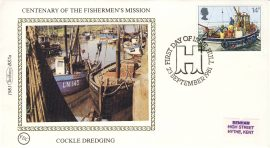 1981 BS7a Fishermen's Mission COCKLE DREDGING Benham Sm Silk Cover refF487Postmarked FDC HULL . Very good condition. Unsealed with insert card. Ideal for gift