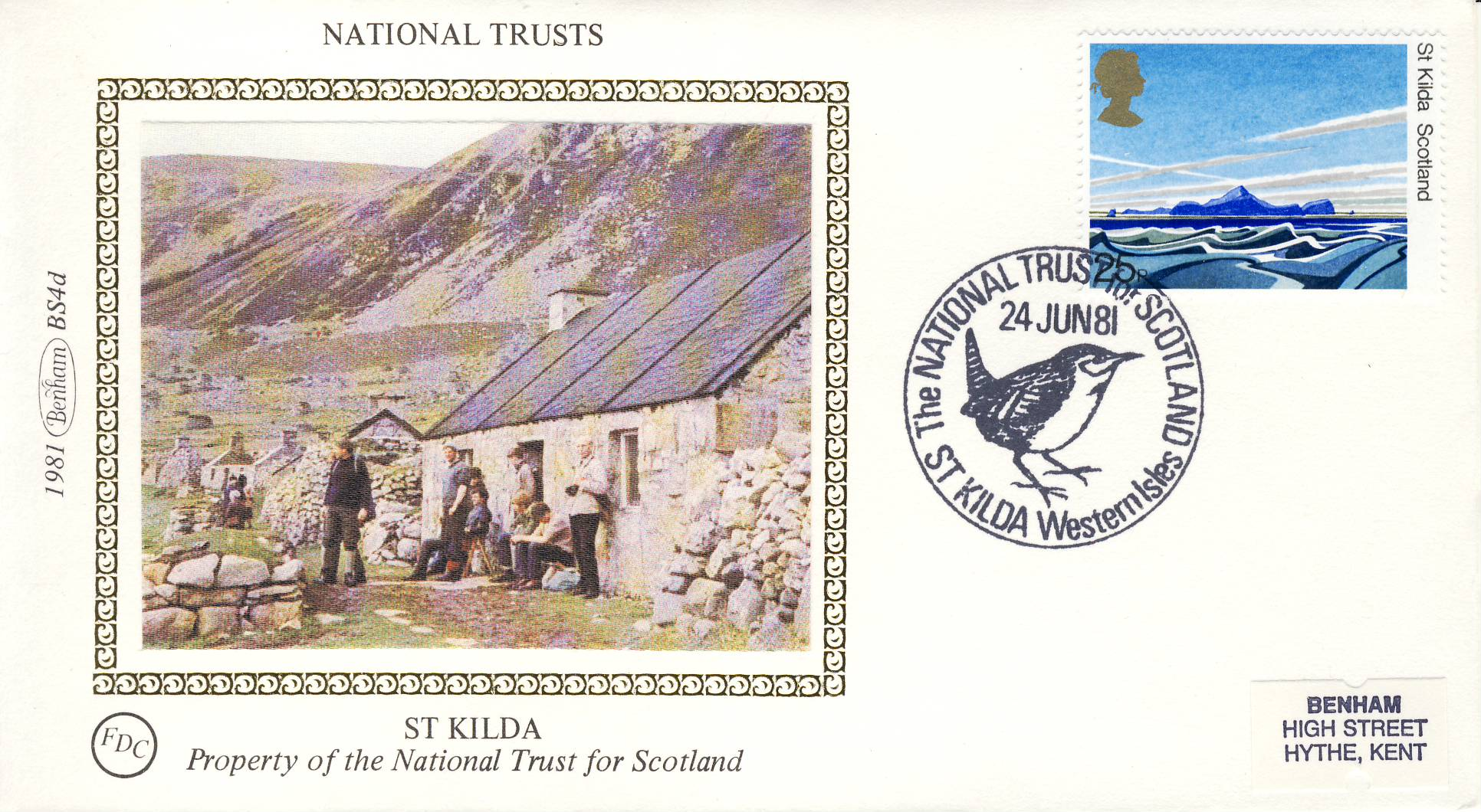 1981 ST KILDA BS4d National Trusts Benham Sm Silk Cover refF489Postmarked St Kilda Western Isles SCOTLAND . Very good condition. Unsealed with insert card. Ideal for gift