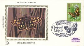 1981 CHEQUERED SKIPPER BS3d BRITISH BUTTERFLIES Benham Sm Silk Cover refF493Postmarked Bourton Cheltenham. Very good condition. Unsealed with insert card. Ideal for gift