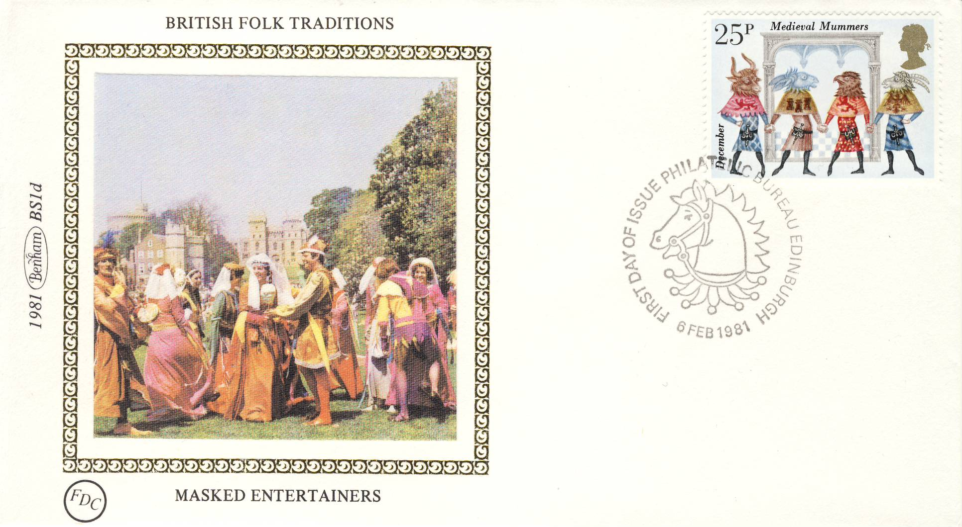 1981 BRITISH FOLK TRADITIONS BS1d MASKED ENTERTAINERS Benham Sm Silk Cover refF497Postmarked fdc Bureau Edinburgh. Very good condition. Unsealed with insert card. Ideal for gift