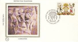 1981 BRITISH FOLK TRADITIONS BS1c LAMMASTIDE Benham Sm Silk Cover refF498Postmarked FDI london WC. Very good condition. Unsealed with insert card. Ideal for gift