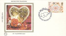 1981 BRITISH FOLK TRADITIONS BS1a ST VALENTINES DAY Benham Sm Silk Cover refF500Postmarked MY VALENTINE LOVER SALISBURY WILTS. Very good condition. Unsealed with insert card. Ideal for gift