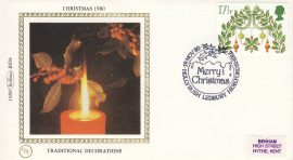 1980 CHRISTMAS BS9e Benham Sm Silk Cover TRADITIONAL DECORATIONS refF501Postmarked Merry Christmas Hollybush Ledbury Hertfordshire. Very good condition. Unsealed with insert card. Ideal for gift