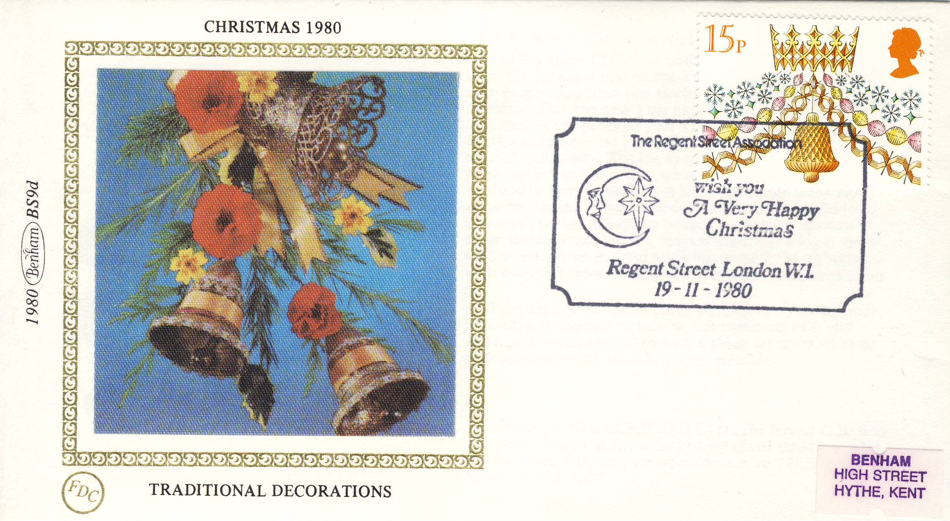 1980 CHRISTMAS BS9d Traditional Decorations Benham Sm Silk Cover refF502Postmarked REGENT STREET LONDON W1 . Very good condition. Unsealed with insert card. Ideal for gift
