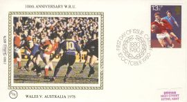 1980 BS7b RUGBY Wales v Australia SPORT stamps Benham Sm Silk Cover refF509100th Anniversary W.R.U. Postmarked CARDIFF. Very good condition. Unsealed with insert card. Ideal for gift