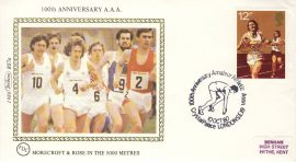 1980 BS7a ATHLETICS Morecroft & Rose SPORT stamps Benham Sm Silk Cover refF510100th Anniversary A.A.A. 5000 metres. Postmarked Crystal Palace London. Very good condition. Unsealed with insert card. Ideal for gift