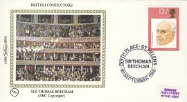 1980 BS6b sir Thomas Beecham BRITISH CONDUCTORS stamps Benham Sm Silk Cover refF513Postmarked ST HELENS. Very good condition. Unsealed with insert card. Ideal for gift