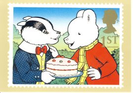 Rupert Bear and Bill Badger Postcard Royal Mail stamp design refF606 Unused postcard. Very good condition. Ideal gift or for framing.