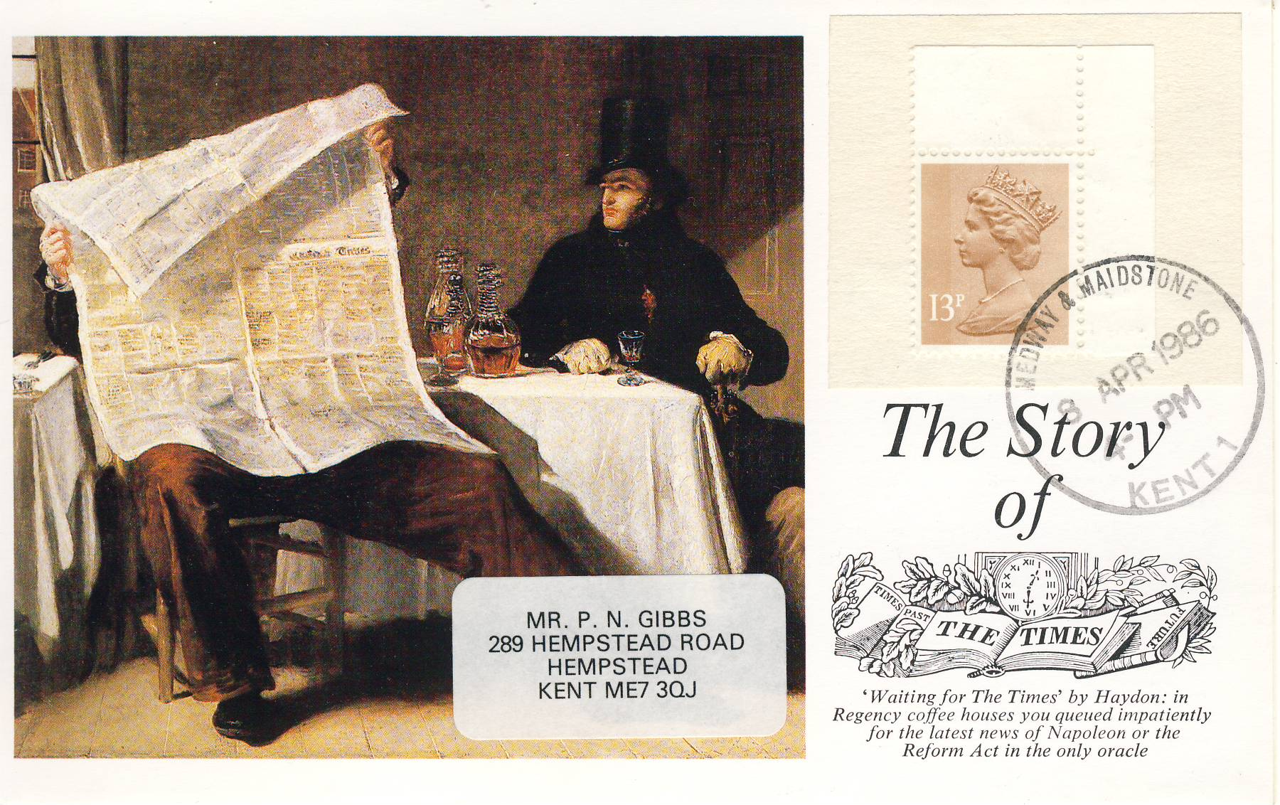 1986 The Story of the Times 19p Stamped Postcard Medway & Maidstone postmark refF607 Very good condition.