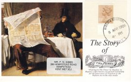 The Story of the Times Newspaper Postcard 13p stamp Medway & Maidstone postmark refF608 Very good condition. CDS circular date stamp 8th April 1986
