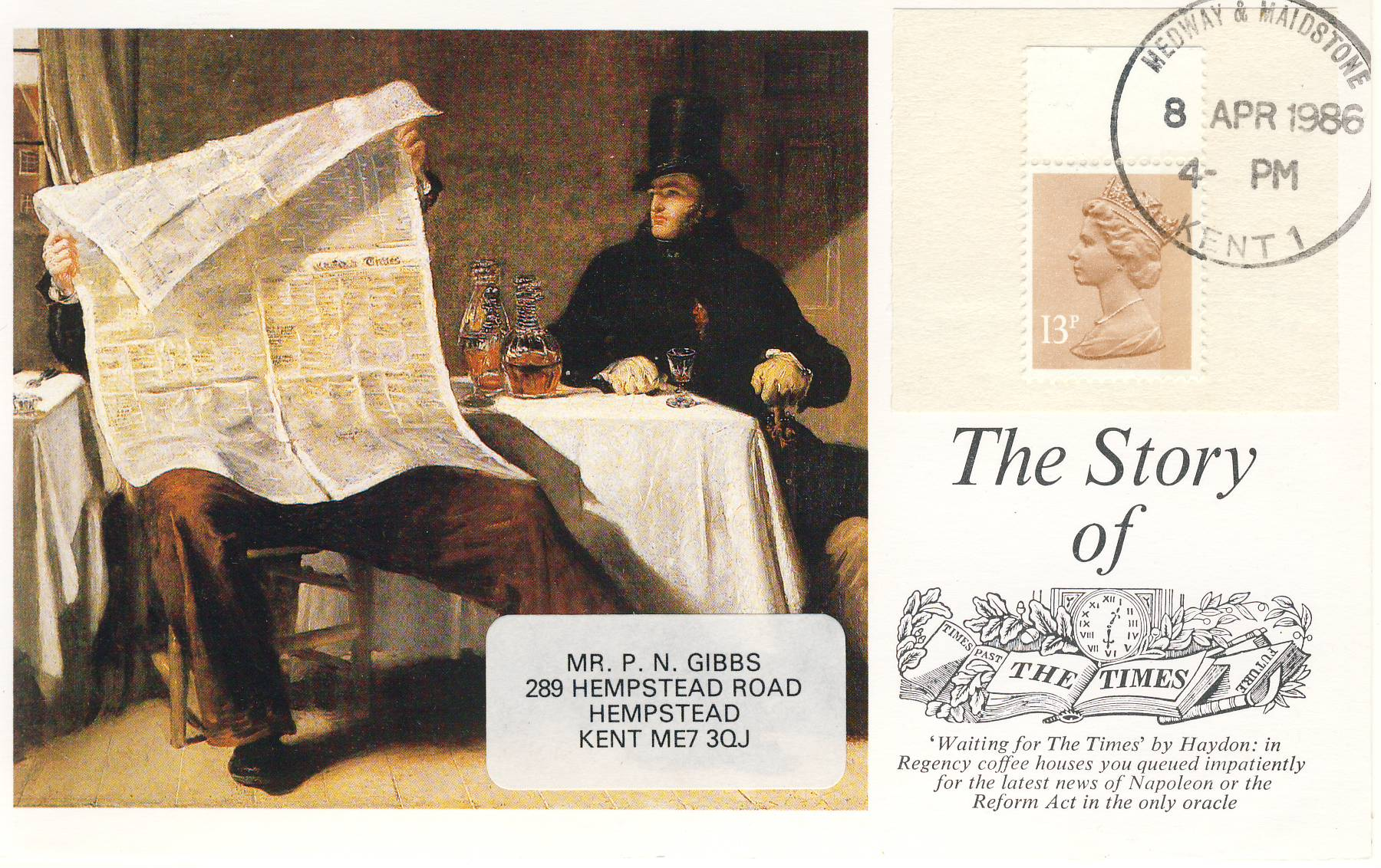 1986 Hail to the Chief Story of the Times Newspaper Postcard 13p stamp refF610 Very good condition. Medway and Maidstone Kent circular date stamp CDS 8th April 1986