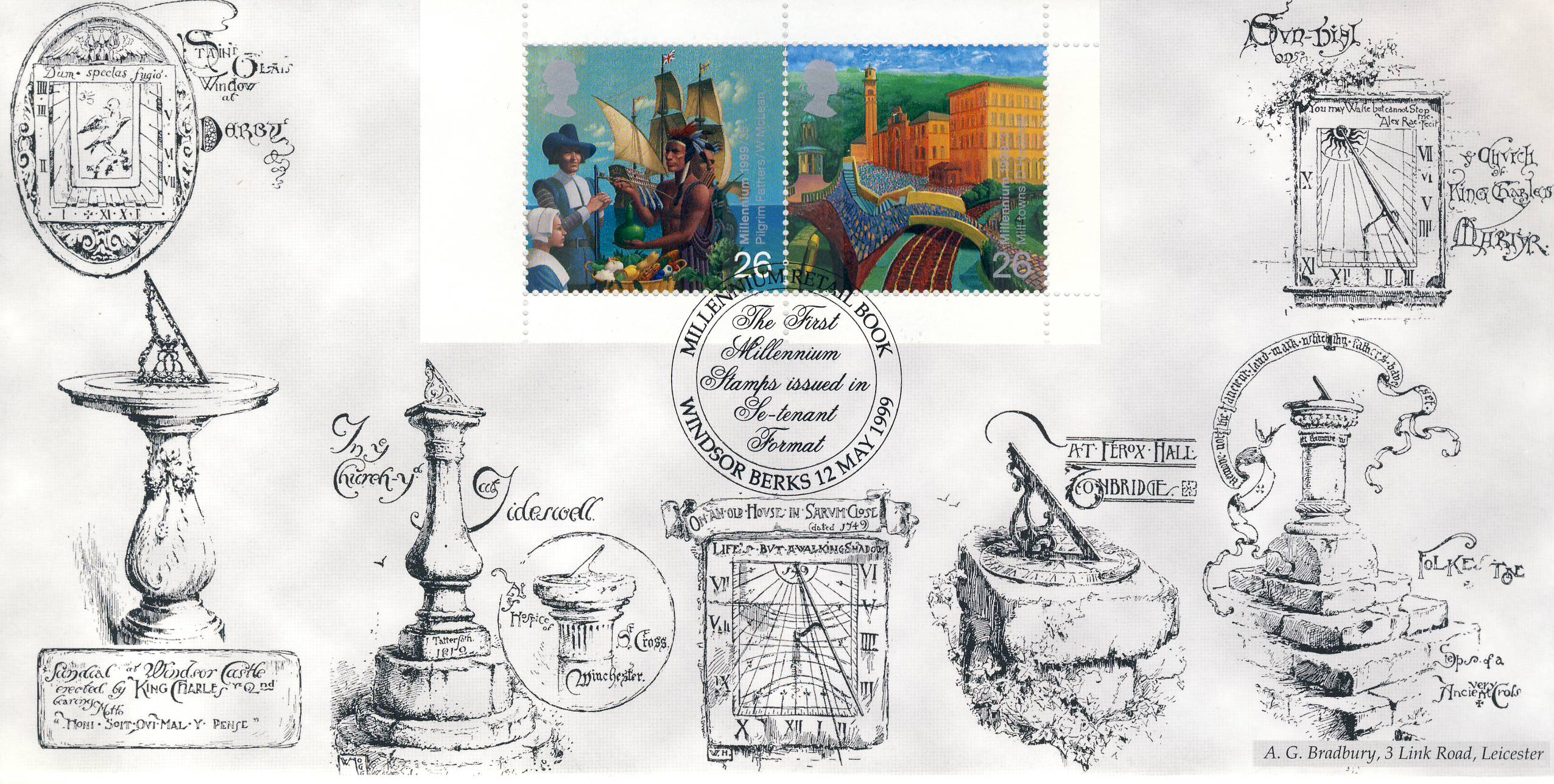 Millennium Retail Book Windsor Berks 12 May 1999 Limited Edition cover FDC This is a Bradbury limited edition stamp cover numbered 315 of 500.  The first Millennium Stamps issued in Se-tenant Formast. Very good condition.