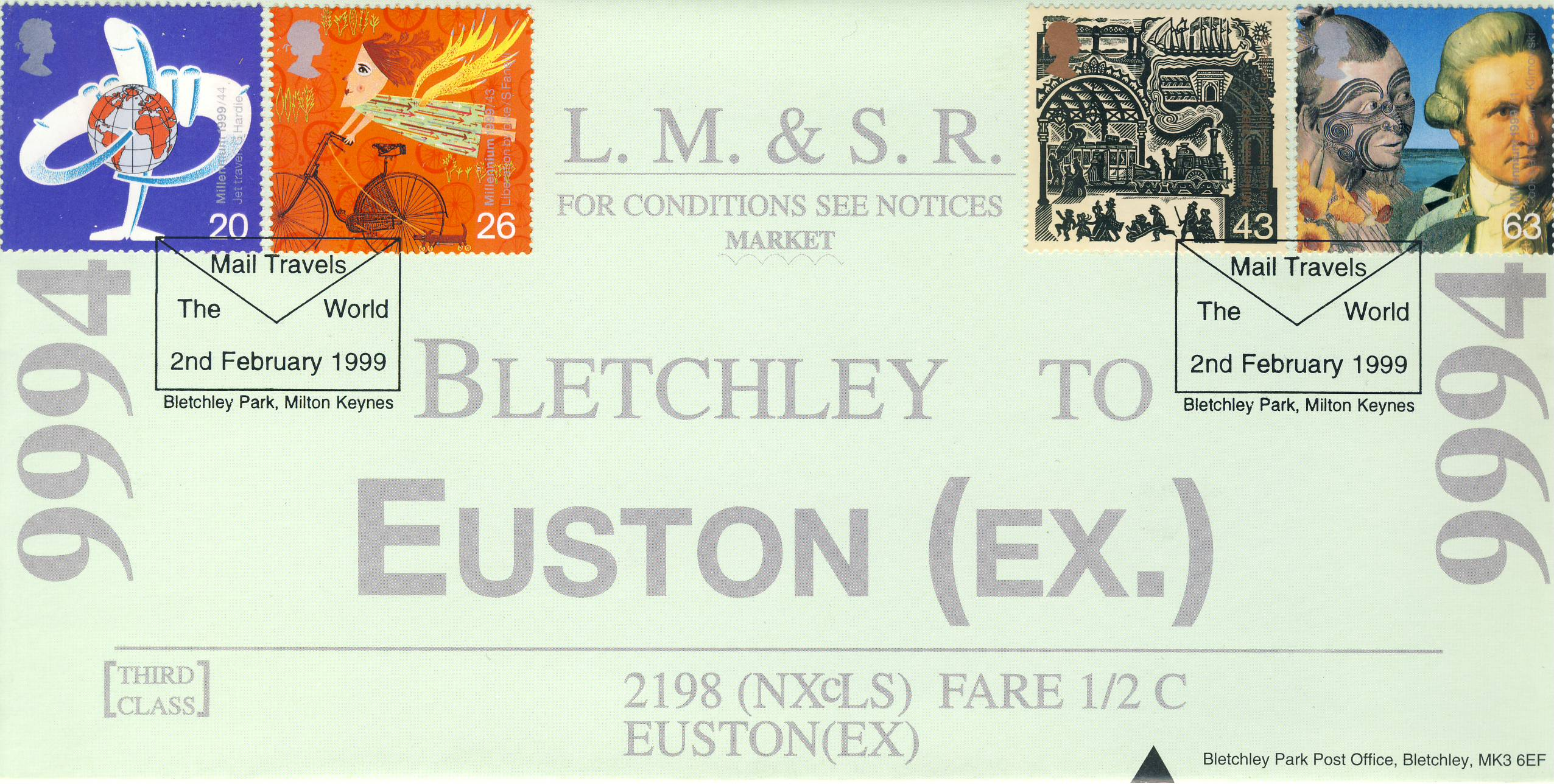 2nd February 1999 Mail Travels The World L.M.&S.R. EUSTON (Ex.) BLETCHLEY PARK Limited Edition cover FDC postmark This is a limited edition Enigma Codebreakers stamp cover numbered 132 of 200.  Very good condition.