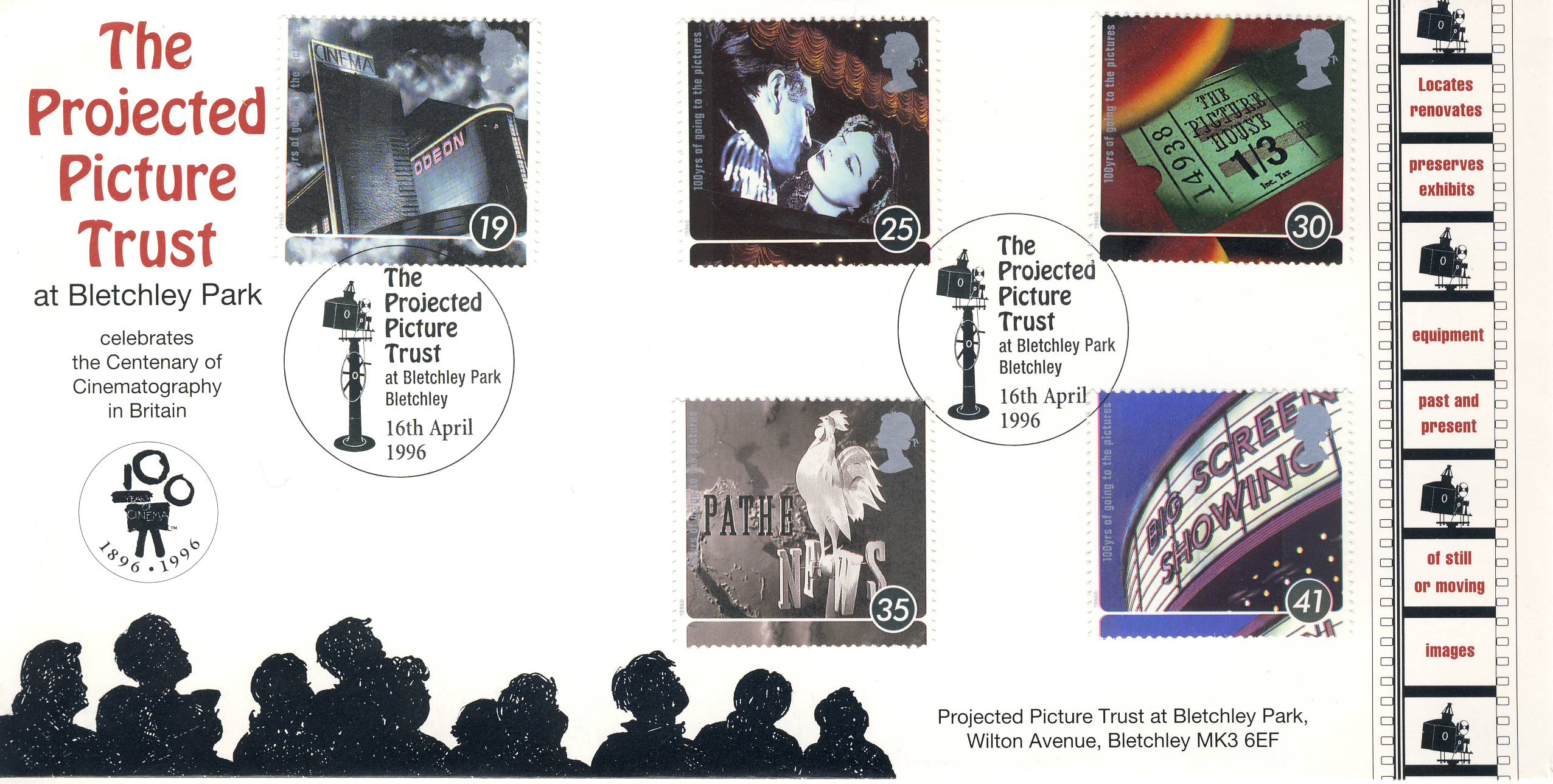 16th April 1996 The Projected Picture Trust BLETCHLEY PARK Limited Edition cover FDC postmark 100 Years of Going To the Pictures stamps. This is a limited edition Engima Codebreakers cover numbered 43 of 1000. Very Good condition.