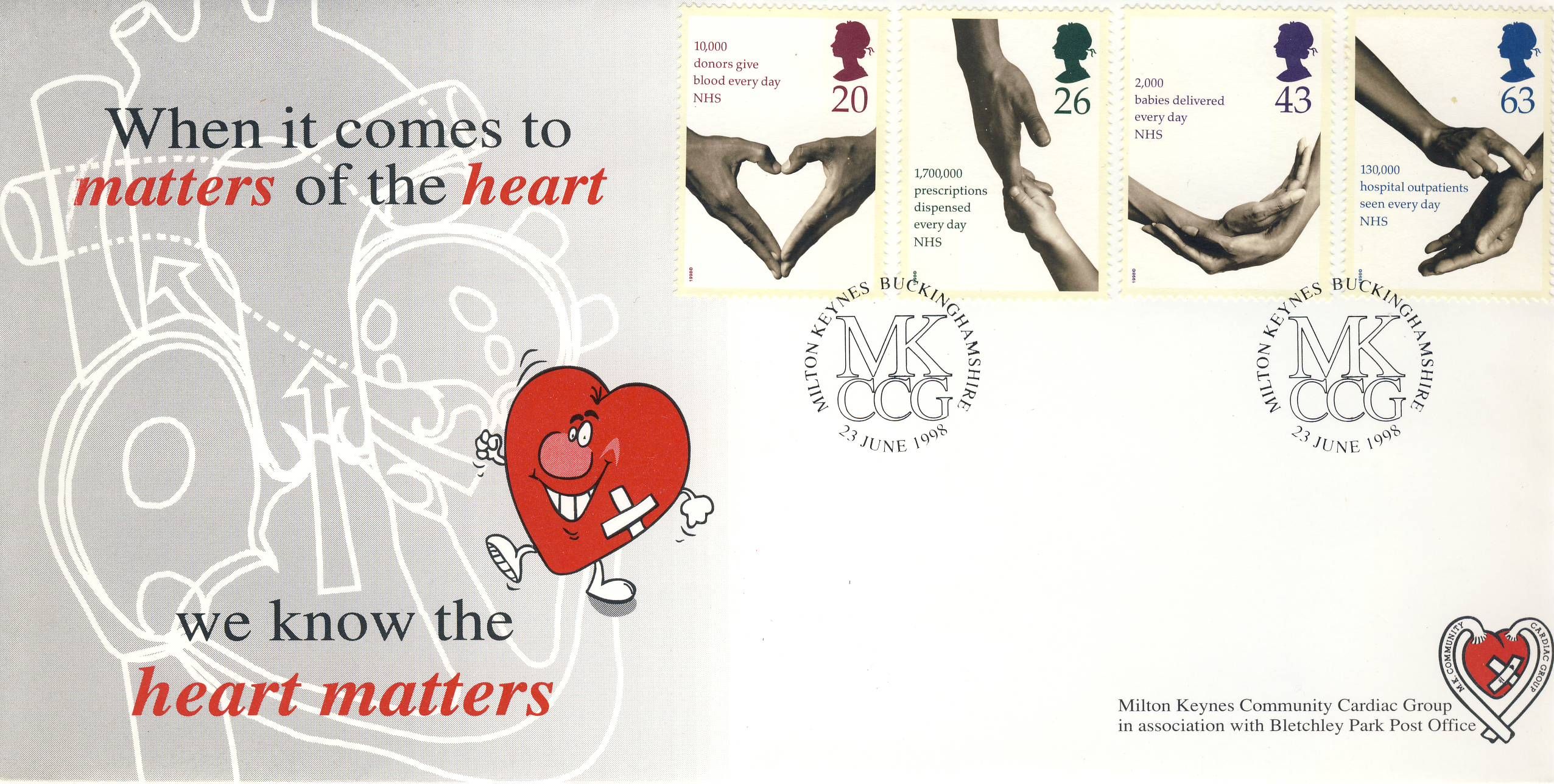 23rd June 1998 NHS 50 years Heart Matters Milton Keynes BLETCHLEY PARK Post Office Limited Edition cover FDC postmark MKCCG This is a limited edition stamp cover numbered 25 of 200 CARDIAC GROUP MILTON KEYNES COMMUNITY .  Very good condition.