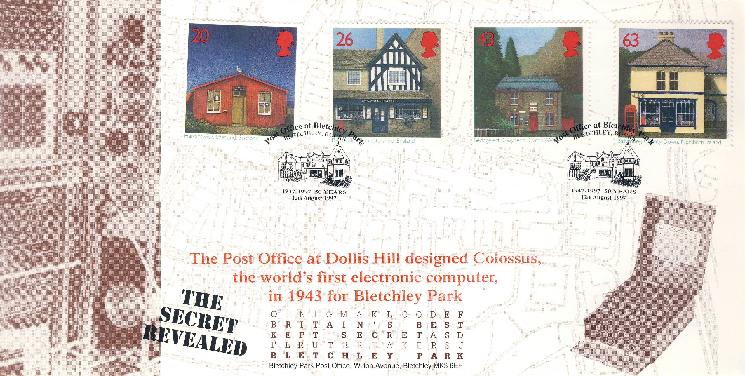 12th August 1997 Dollis Hill Colossus BLETCHLEY PARK Limited Edition cover FDC postmark Post Office 50 years This is a limited edition Post Offices stamps cover numbered 43 of 300 . Very good condition.