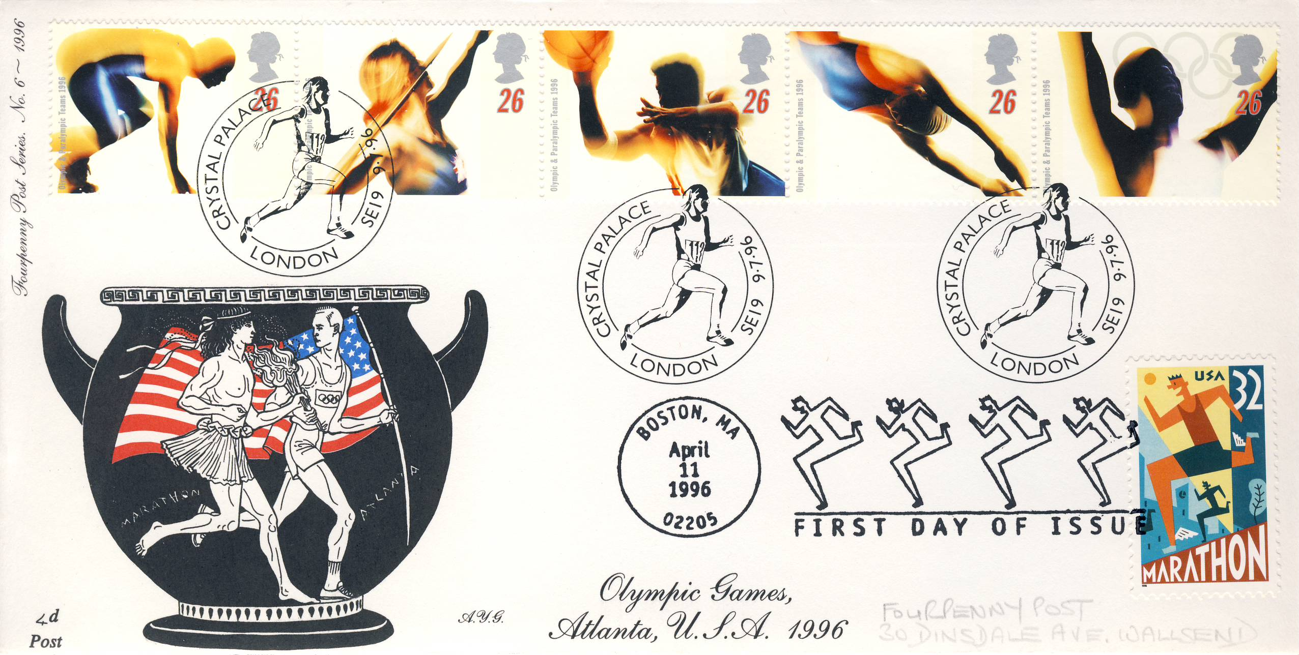 1996 Olympic Games Fourpenny Post Series No.6 Limited Edition cover FDC double postmarks 100th Anniversary Crystal Palace London & Boston MA USA Atlanta. This is a limited edition stamp cover numbered 39 of 60 double first day covers.  Very good condition.