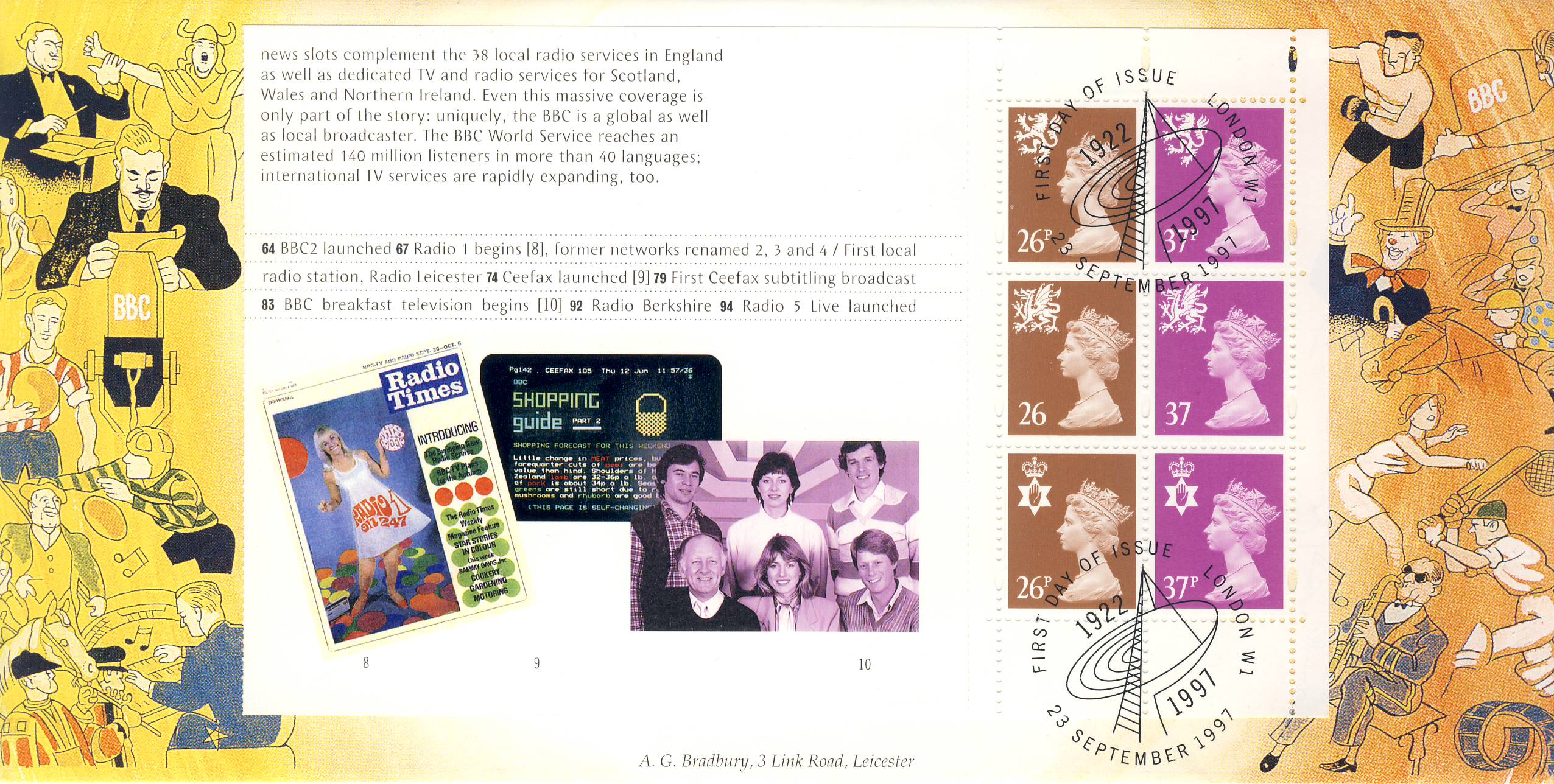 1997 BBC Radio Times CEEFAX Breakfast television begins Limited Edition cover FDC postmark London W1 1992-1997 23 September. This is a limited edition Bradbury cover numbered 178 of 250 .  Very good condition.