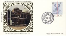 1984 BS6d Meridian Line Greenwich Benham Sm Silk Cover refF557 Postmarked First Day of Issue London SE10 26 June 1984 Very good condition. Unsealed with insert card. Ideal for gift